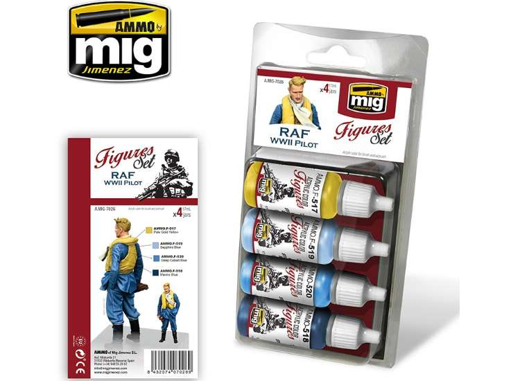 Ammo Mig 17ml x4 7026 RAF WWII Pilot Uniforms - Acrylic Paint Set