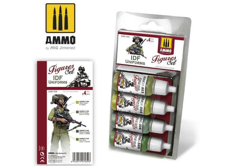Ammo Mig 17ml x4 7030 IDF Uniforms - Acrylic Paint Set