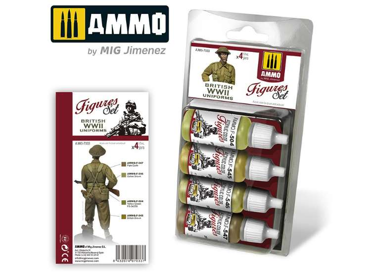 Ammo Mig 17ml x4 7033 WWII British Uniforms Acrylic Paint Set