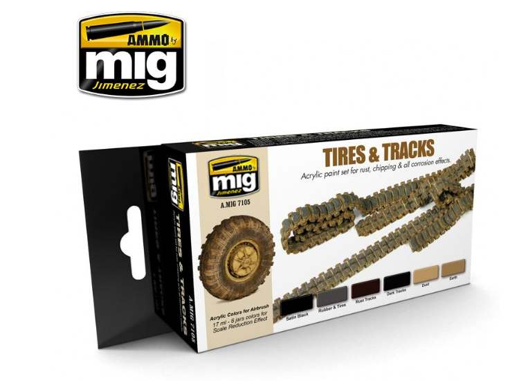 Ammo Mig 17ml x6 7105 Tyres and Tracks Acrylic Paint Set