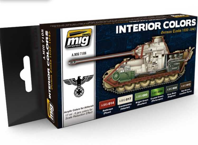Ammo Mig 17ml x 6 7108 German Tanks Interior Colors - Acrylic Paint Set