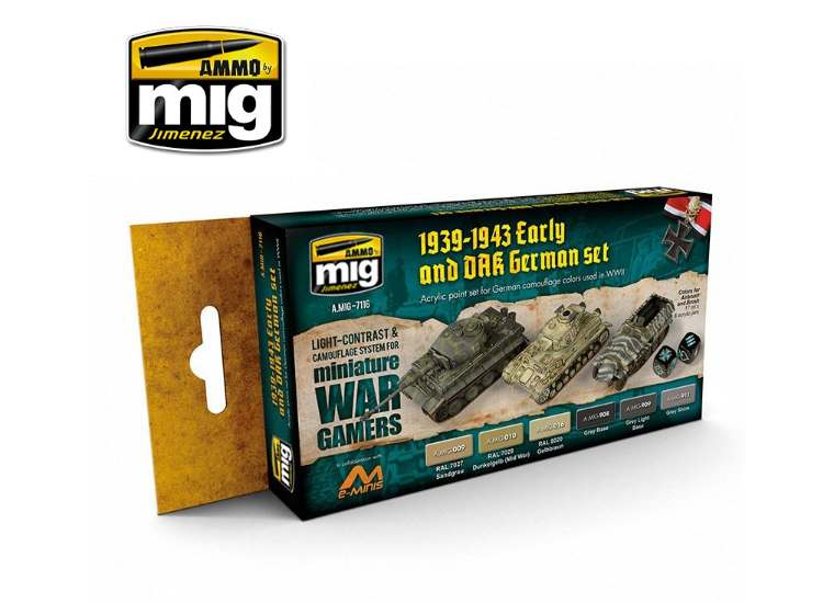 Ammo Mig 17ml x6 7116 Wargame Early & DAK German - Acrylic Paint Set