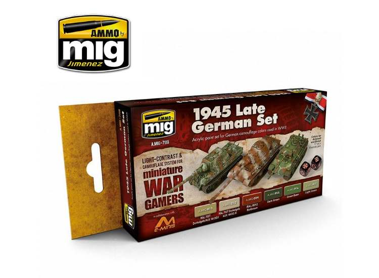 Ammo Mig 17ml x6 7118 Wargame 1945 Late German - Acrylic Paint Set