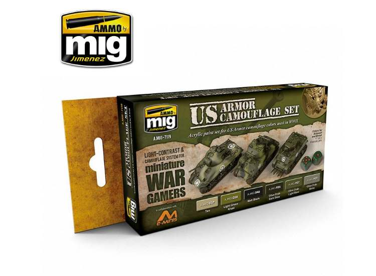 Ammo Mig 17ml x6 7119 Wargame US Armour - Acrylic Paint Set