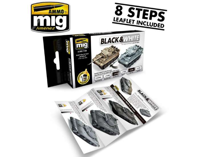 Ammo Mig 17ml x6 7128 Black and White Technique Acrylic Paint Set