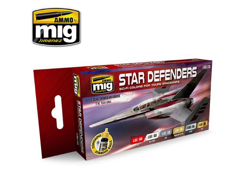 Ammo Mig 17ml x6 7130 Star Defenders Sci-Fi - Acrylic Paint Set