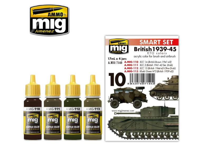 Ammo Mig 17ml x4 7140 British 1939-45 European Colors - Acrylic Paint Set
