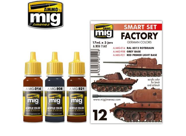 Ammo Mig 17ml x3 7142 German out of Factory Colours - Acrylic Paint Set