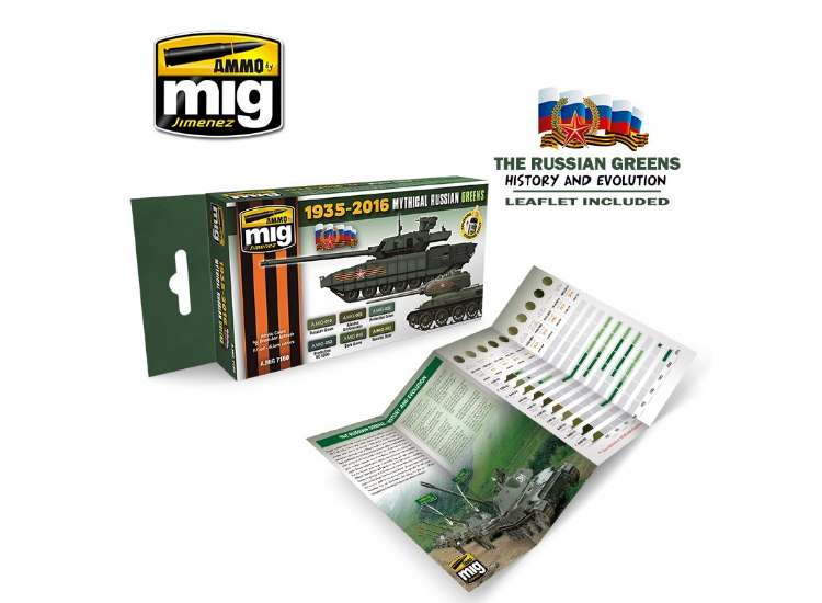 Ammo Mig 17ml x6 7160 Mythical Russian Green Colours - Acrylic Paint Set