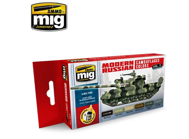 Ammo Mig 17ml x6 7161 Modern Russian Camo Vol 2 - Acrylic Paint Set