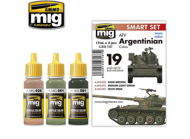 Ammo Mig 17ml x3 7167 Argentinian AFV Colours - Acrylic Paint Set