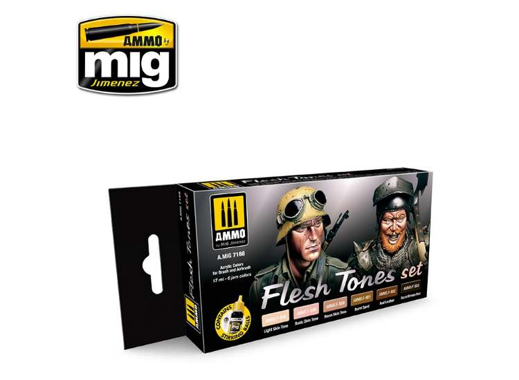 Ammo Mig 17ml x6 7168 Flesh Tones Acrylic Paint Set