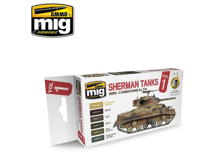 Ammo Mig Sherman Tanks Vol 1 Acrylic Paint Set 7169