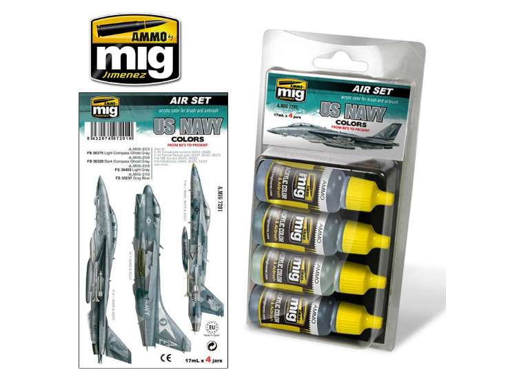 Ammo Mig 17ml x 4 7201 US Navy Colours from 80's to present - Acrylic Paint Set