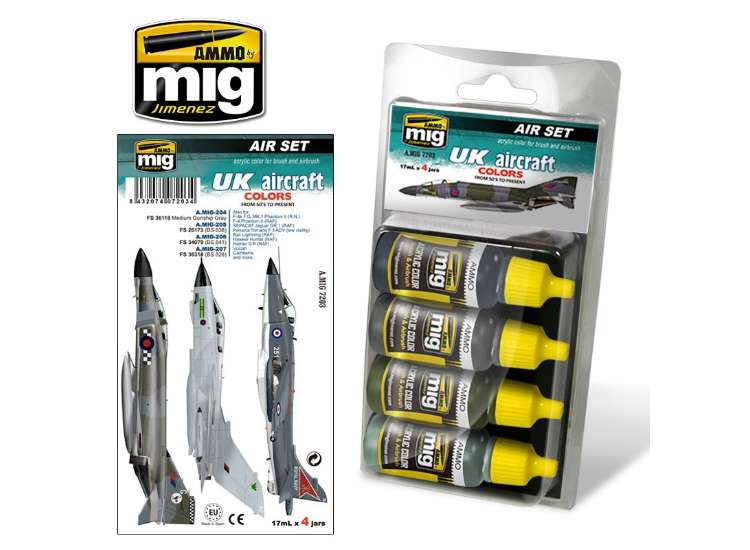 Ammo Mig 17ml x 4 7203 UK Aircraft Colours from 50's to present - Acrylic Paint Set