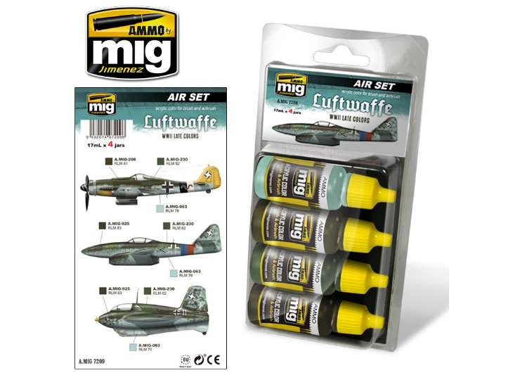 Ammo Mig Luftwaffe WWII Late Colours  - Acrylic Paint Set 7209