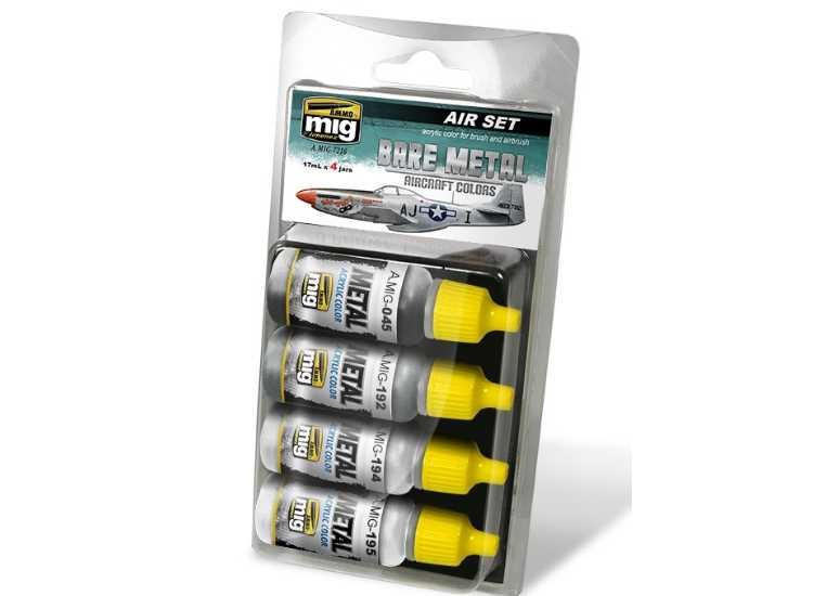 Ammo Mig 17ml x 4 7216 Bare Metal Aircraft Colors - Acrylic Paint Set