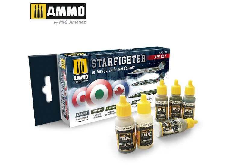 Ammo Mig 17ml x6 7231 F-104 Starfighter Turkey, Iitaly, Canada Acrylic Paint Set