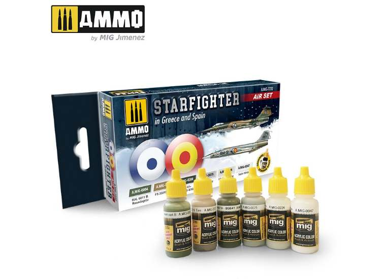 Ammo Mig 17ml x6 7232 F-104 Starfighter Greece / Spanish - Acrylic Paint Set