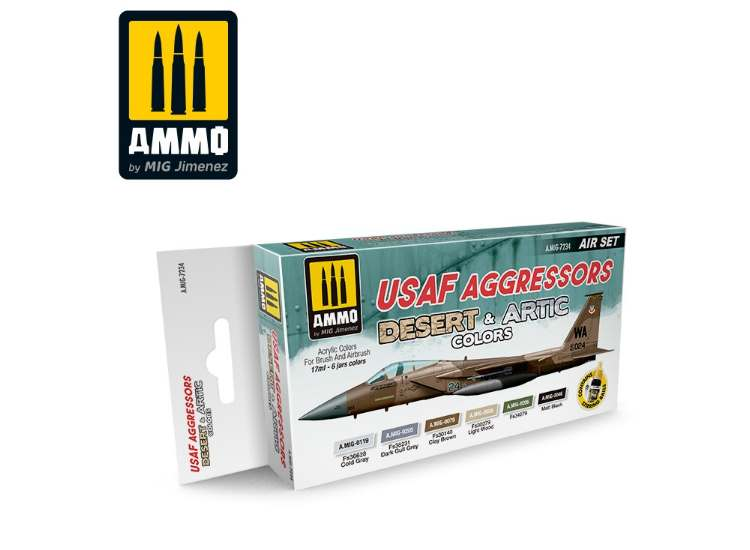 Ammo Mig 17ml x6 7234 USAF Aggressors Desrt & Artic - Acrylic Paint Set