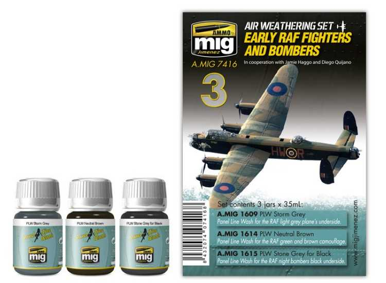 Ammo Mig Early RAF Fighters / Bombers Panel Lines Washes Set 7416
