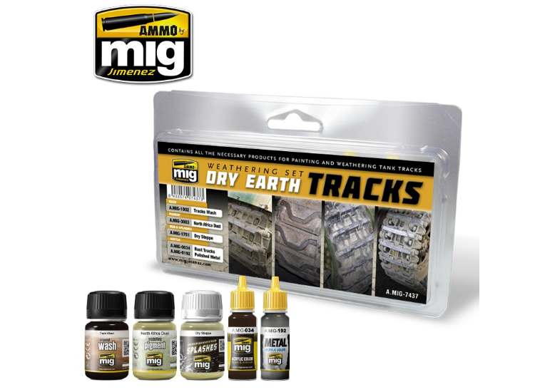 Ammo Mig - 7437 Dry Earth Tracks Weathering Set