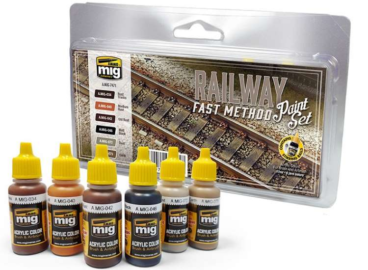 Ammo Mig RaIlway Fast Method Acrylic Paint Set 7471
