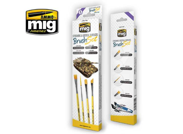 Ammo Mig - 7604 Streaking and Vertical Surfaces Brush Set