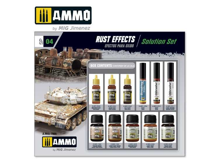 Ammo Mig - 7805 Rust Effects: Wash / Paint / Pigment Solution Set