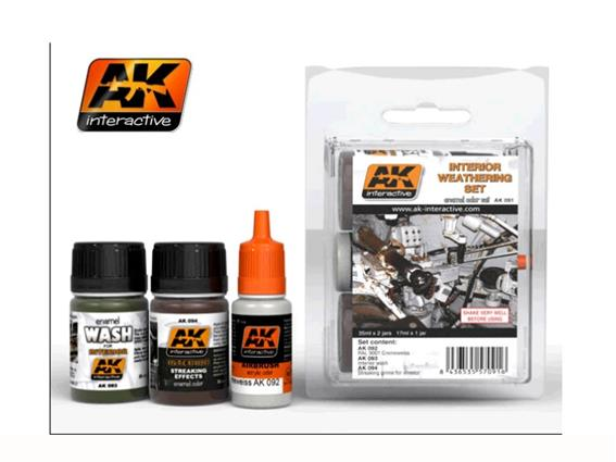 AK Interactive 2x35ml 1x17ml 00091 Interior Weathering Set