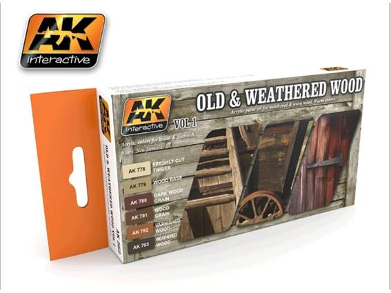 AK Interactive 17ml x6 00562 Old and Weathered Wood Vol 1 Acrylic
