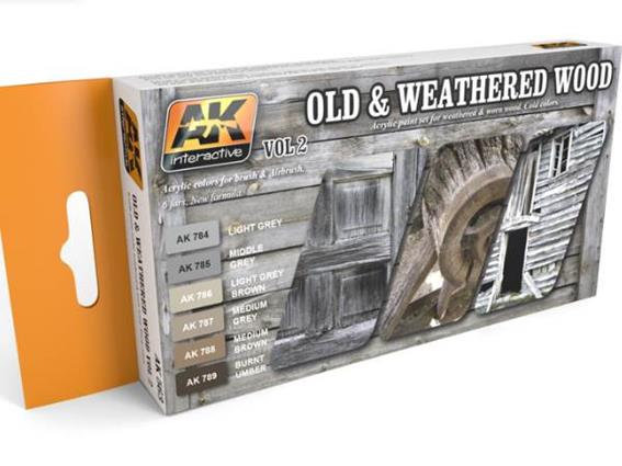 AK Interactive 17ml x 6 00563 Old and Weathered Wood Vol 2 Acrylic