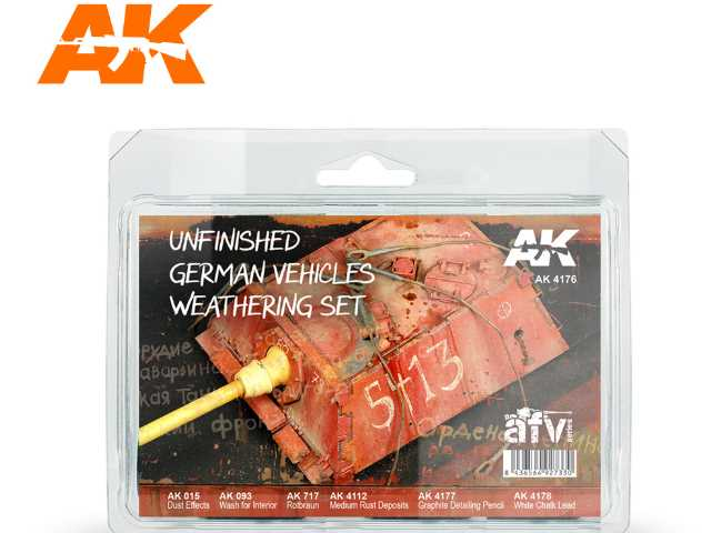 AK Interactive 6 x 04176 Unfinished German Vehicles Weathering Set