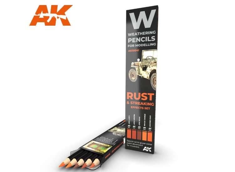 AK Interactive Watercolour Weathering Pencil Set - Rust / Streaking (5)