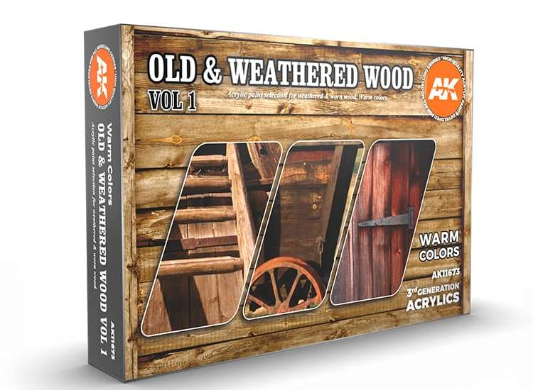 AK Interactive Old & Weathered Wood Vol 1 - 3G Acrylic Paint Set 11673
