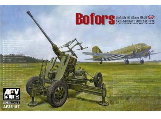 AFV Club Bofors 40mm AA Gun Late Type (British QF40mm MkIII) 35187