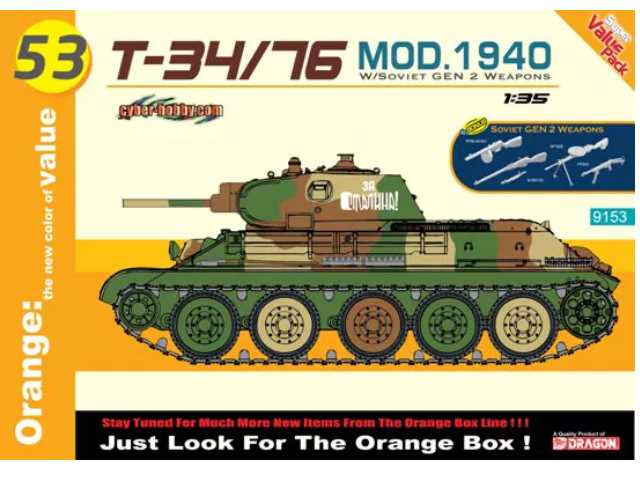 Dragon 1/35 9153 T-34/76 Mod.1940 w/ Weapons Set