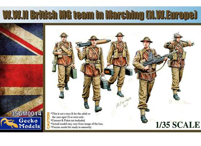 Gecko Models 1/35 35GM0014 WWII British MG Team Marching (NW Europe)