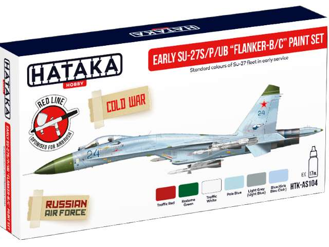 Hataka Acrylic Paint Set - Early Su-27S/P/UB Flanker-B/C AS104