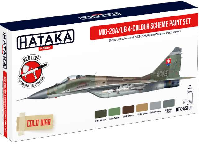 Hataka Acrylic Paint Set - MiG-29A/UB Fulcrum-A/B 4-colour scheme AS105