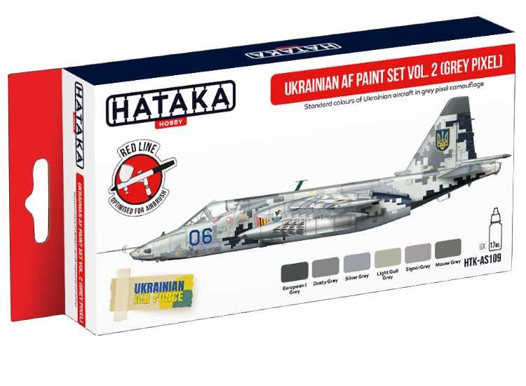 Hataka Acrylic Paint Set - Ukrainian AF vol. 2 (Grey Pixel) AS109