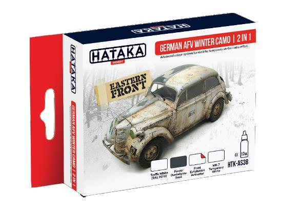Hataka 4x 17ml AS38 Acrylic Paint Set - German AFV Winter Camo 2 in 1