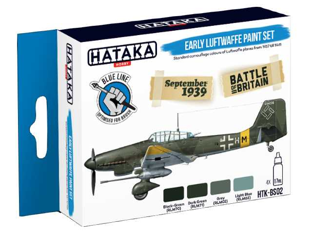 Hataka 4 x 17ml BS02 Acrylic Paint Set - Early Luftwaffe (for hand brushing)