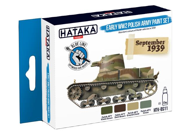 Hataka 4 x 17ml BS11 Acrylic Paint Set - Early WW2 Polish Army (for hand brushing)