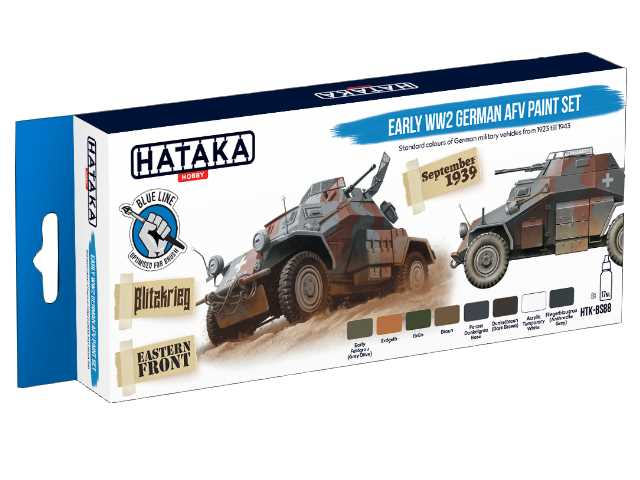 Hataka 8 x 17ml BS88 Acrylic Paint Set - Early WW2 German AFV  (for hand brushing)