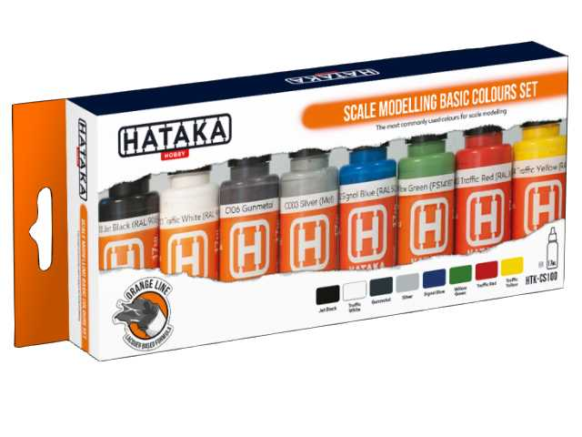 Hataka 8 x 17ml CS100 Laquer Paint Set - Scale Modelling Basic Colours set