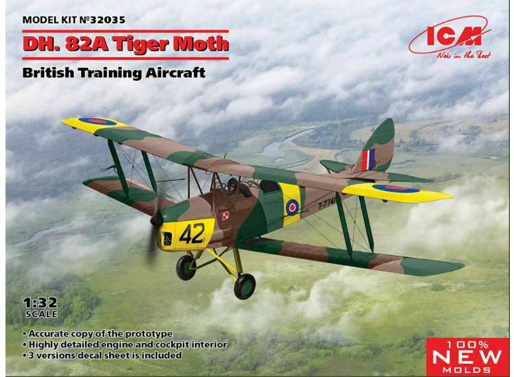 ICM Dh.82A Tiger Moth British Trainer 32035