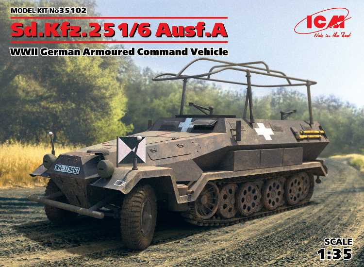 ICM Sd.Kfz.251/6 Ausf.A, WWII German Armoured Command Vehicle 35102