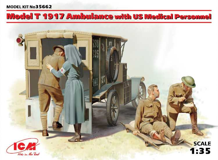 ICM Model T 1917 Ambulance with US Medical Personnel 35662