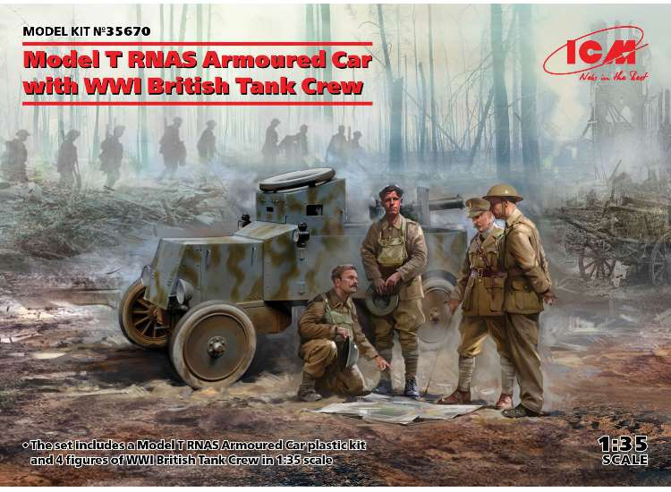 ICM Model T RNAS Armoured Car w/ WWI British Tank crew 35670